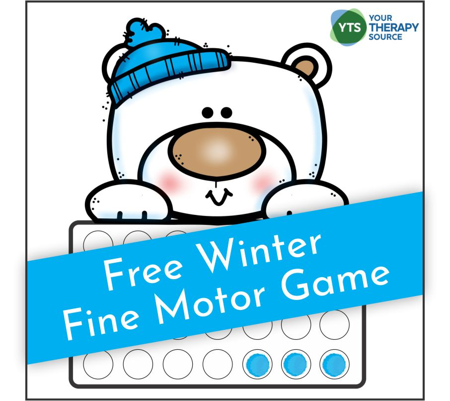 Today's free printable is a polar bear fine motor activity game to encourage fine motor skill development and hand strengthening.