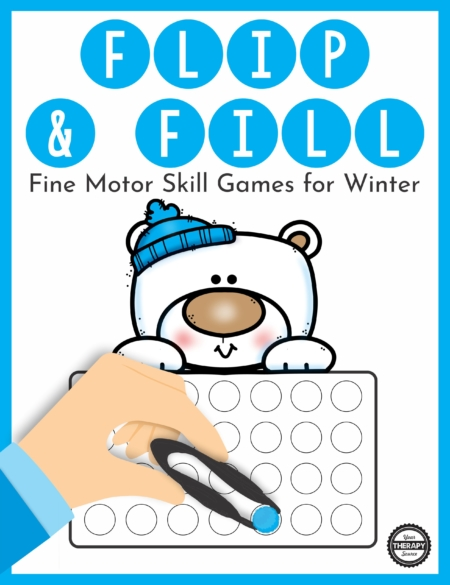 The Winter Fine Motor Activities – Flip and Fill digital download includes 15 different winter-themed game boards to practice fine motor skills and encourage hand strengthening.