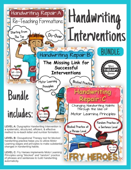 The Handwriting Interventions Bundle includes 3 occupational therapy tools to help you with handwriting instruction and help your students succeed.