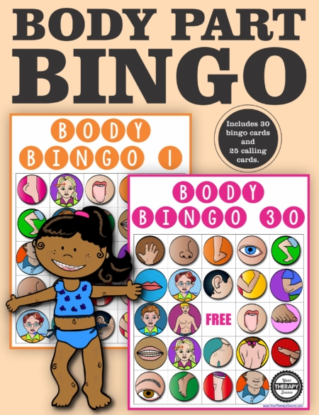 This Body Parts Bingo Game includes 30 different bingo boards and 25 body part flashcards for calling cards.  It is fun activity to review body parts, body awareness and perfect for a large group.
