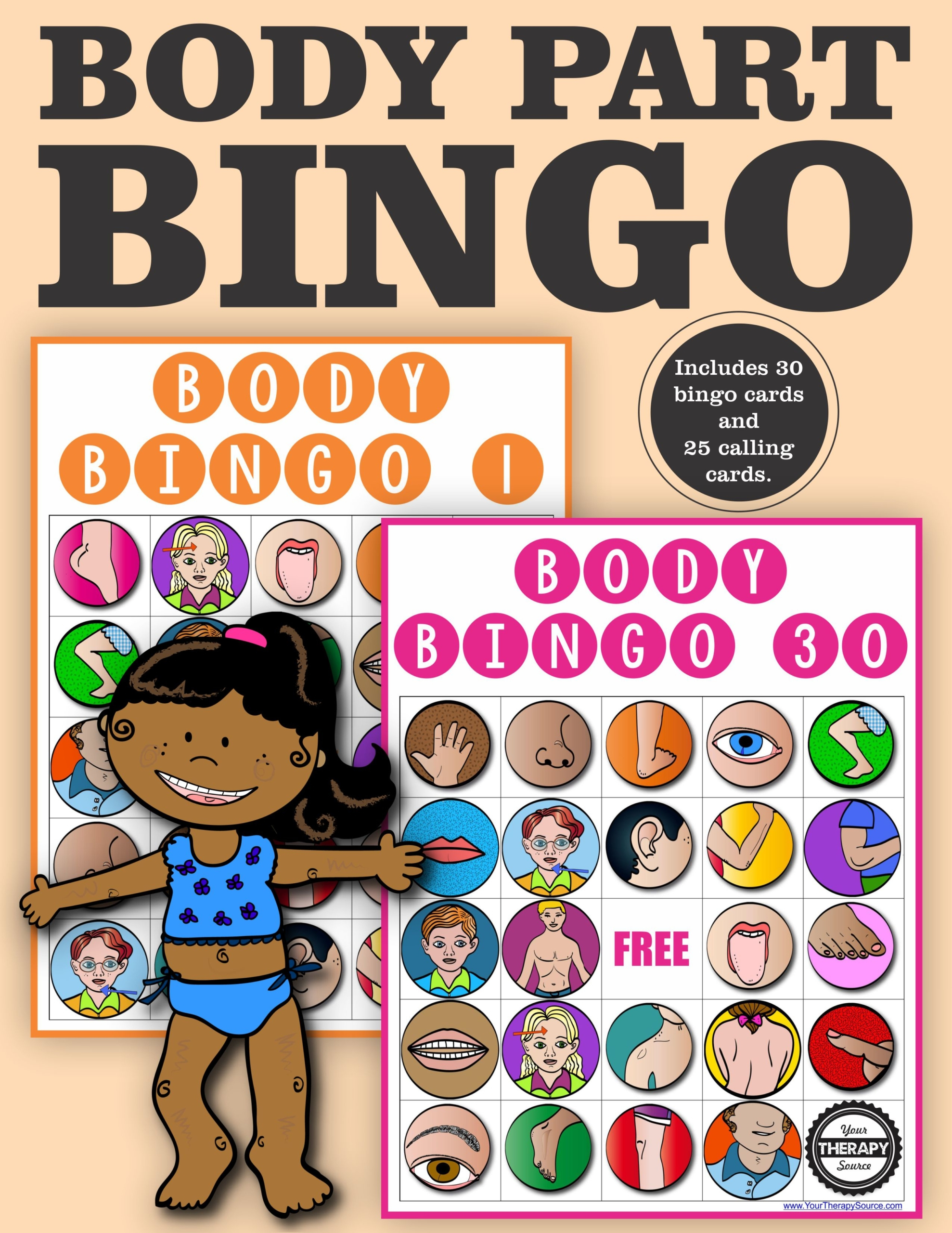 Body Parts Bingo Game Classroom Set - Your Therapy Source