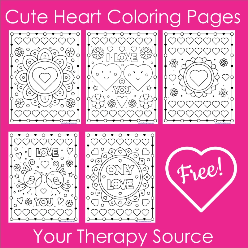 Cute Heart Coloring Pages - 5 Free Printables - Your Therapy Source