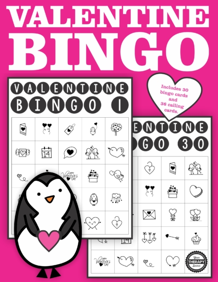 Valentine Bingo Printable Classroom Set for up to 30 players - black and white