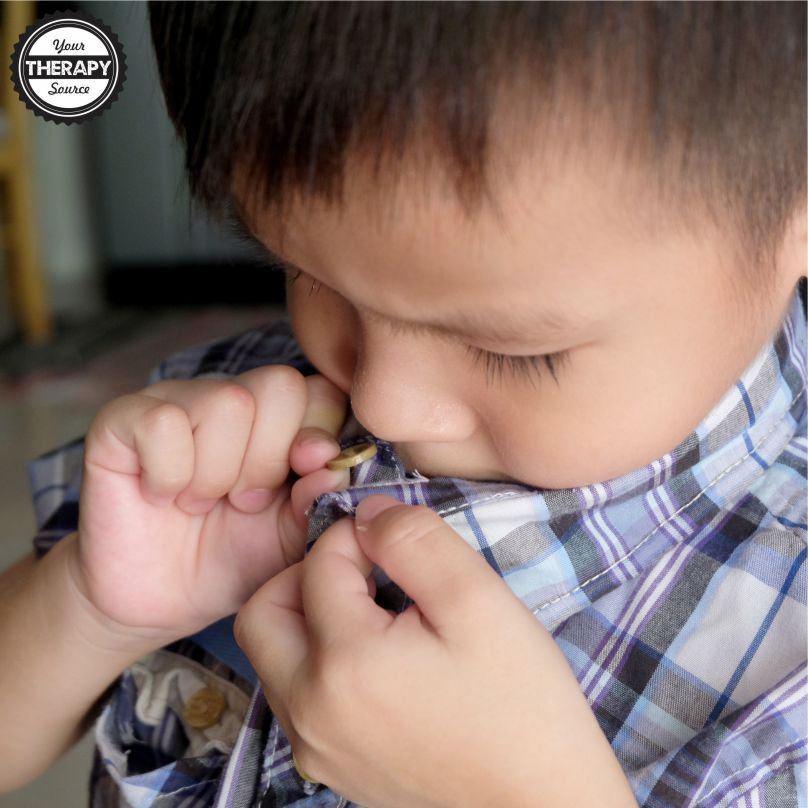 Children can struggle when they learn how to button. They need lots of opportunities for button practice time. It can feel overwhelming to a child and stressful for the parents or teachers who are standing by to help if needed.