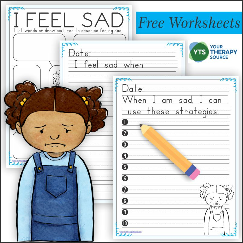 Do you have a sad child? Are you a teacher or therapist who works with a sad child? These free emotional regulation worksheets may help children regulate their feelings of sadness.