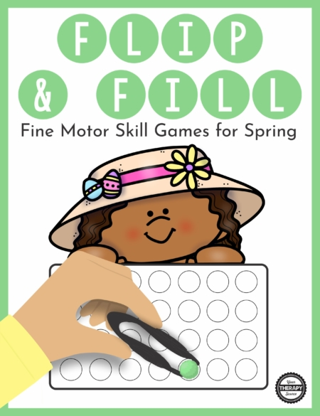 The Spring Fine Motor Activities – Flip and Fill digital download includes 20 different Spring-themed game boards to practice fine motor skills and encourage hand strengthening.