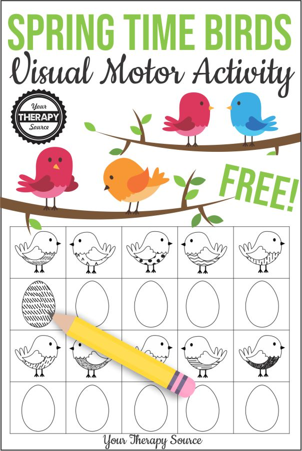 This fun and playful spring visual discrimination and visual motor activity is ready to print and play. Free from Your Therapy Source.