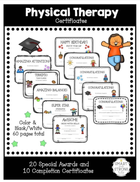 The Physical Therapy Awards and Certificates for Children packet helps celebrate your students or clients completing and graduating from physical therapy!