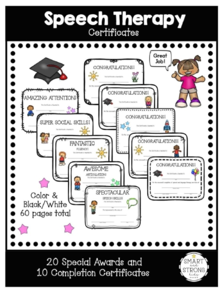The Speech Therapy Awards and Certificates for Children packet helps celebrate your students or clients completing and graduating from speech therapy!