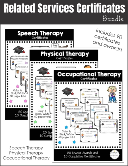 The Related Services Awards and Certificates Bundle includes three color and black/white digital packets for OT, PT and Speech Therapy.