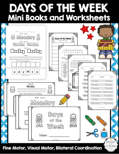 The Days of the Week Worksheets PDF and Mini Books can help early learners practice identifying and writing the days of the week. Perfect for centers, morning work, specialized instruction, and RTI.