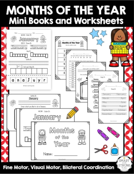 The Months of the Year Worksheets PDF and Mini Books will help early learners identify, write, and draw about the months of the year. Perfect for early morning work, centers, or RTI.