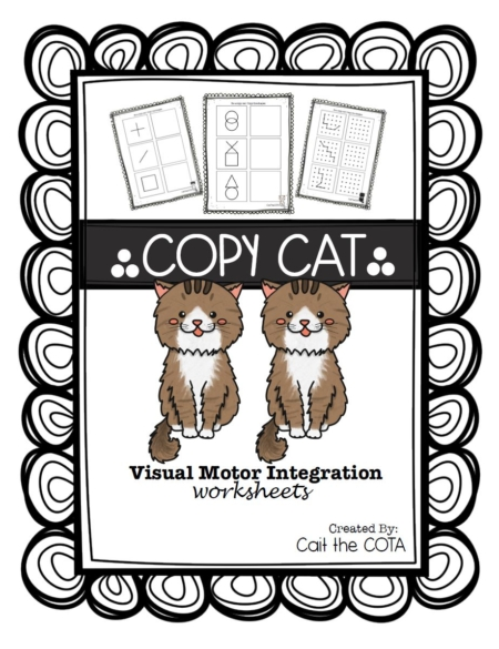 Cait Bowen, COTA has created this fun and challenging Copy Cat Visual Motor Integration Worksheets packet.