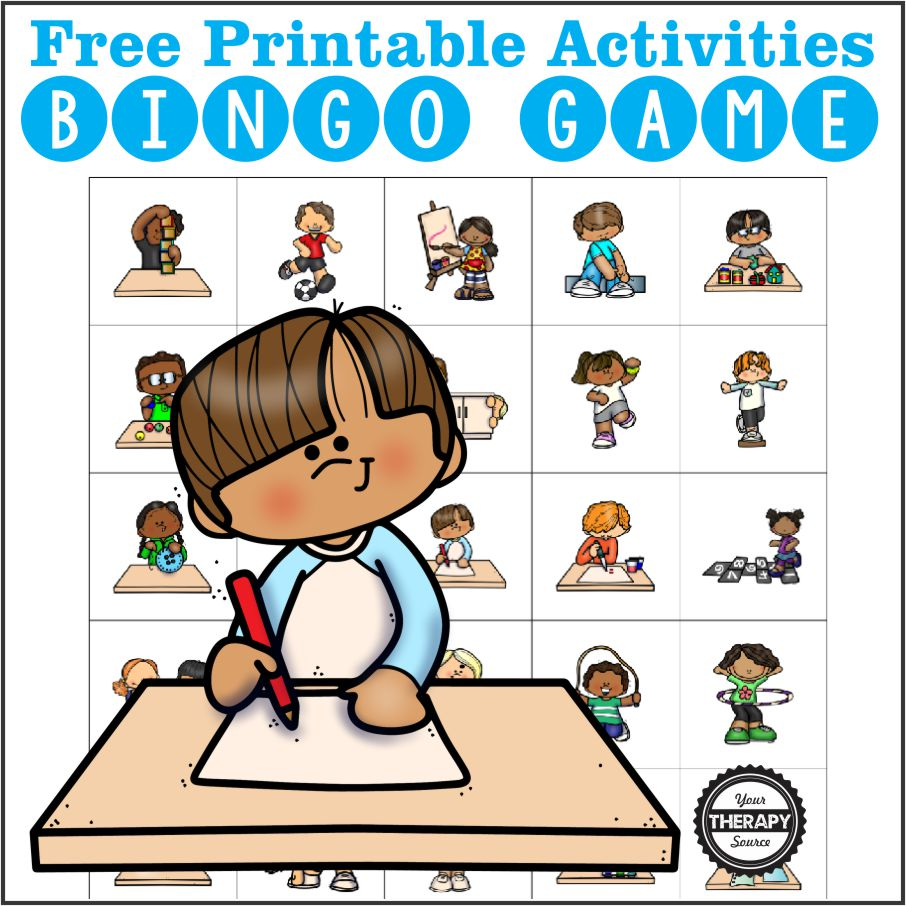 If you need fine motor and gross motor suggestions for children, check out this Activity Bingo game. Free printable game from Your Therapy Source.