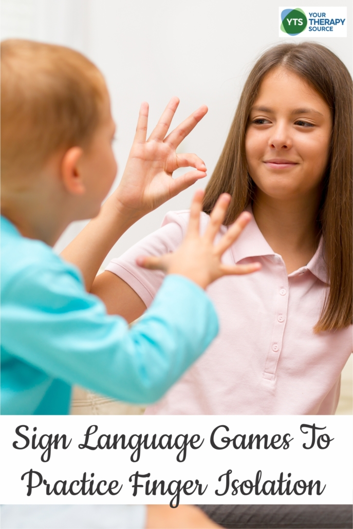 Have you ever played sign language games to practice finger isolation? It can be a fun way to mix up other classic games using sign language.