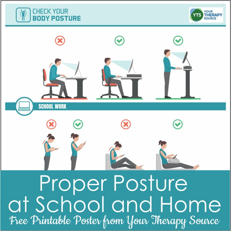 It is important to teach children how to maintain good posture at school and home. You can download a helpful Good Posture poster for free