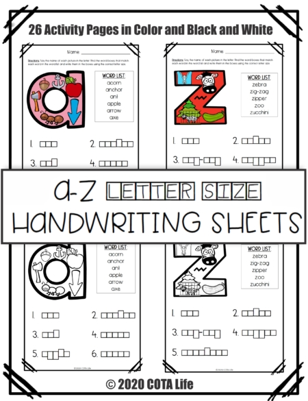 Are you looking to reinforce the formation of tall, small, and fall letters? The a to z Letter Size Handwriting sheets, requires NO PREP!