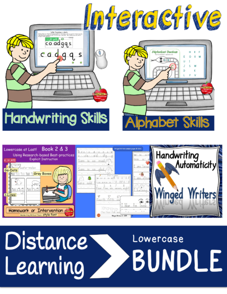The INTERACTIVE Lowercase Handwriting Bundle created by school-based OT, Thia Triggs, includes four resources for building lowercase visual-motor skills.