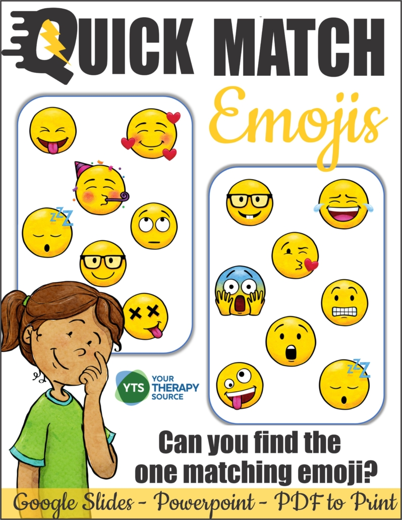 Quick Match Emojis is a super fun, visual perceptual card game.  Be the first player to spot the ONE matching emoji on each set of two cards.  This game can be played on Google Slides, Powerpoint or PDF to print it.  There are 25 puzzle pages.