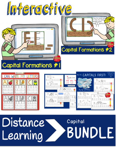 The INTERACTIVE Capital Letter Handwriting Bundle created by school-based Occupational Therapist, Thia Triggs, includes four resources for building capital letters and visual-perceptual and visual-motor skills.