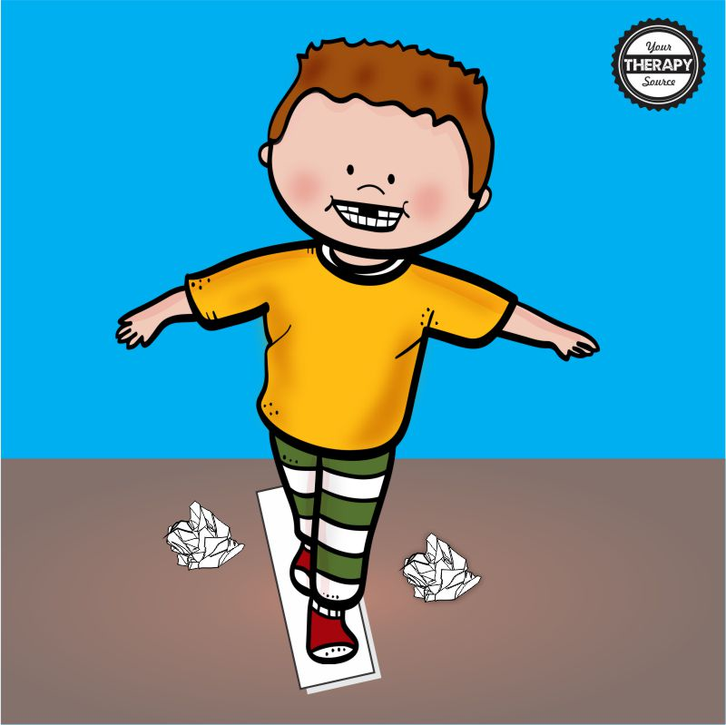 5 balance activities with paper to challenge children's balance skills. Using just a few sheets of paper, children can have fun and improve their balance skills while at home.
