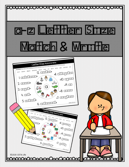 Do you need letter size handwriting practice pages? Do you want to reinforce the formation of tall, small, and fall letters? This digital download packet, Letter Size Match and Write, requires NO PREP and is ready to print and go!