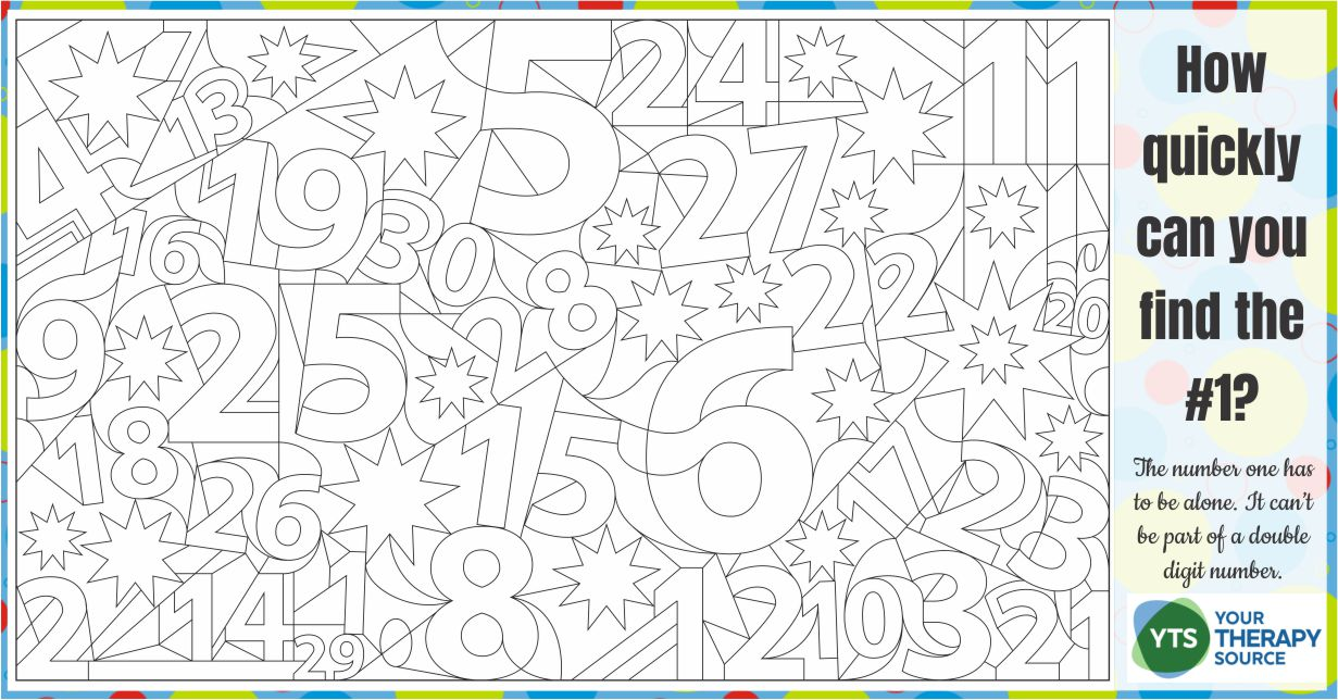 This FREE number puzzle for kids to print will challenge visual perceptual skills along with number recognition from Your Therapy Source.