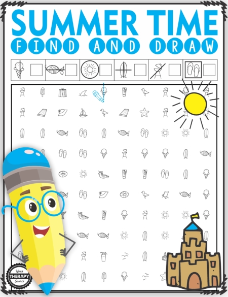 The Summer Visual Motor Packet includes 10 activities to practice visual discrimination and visual motor skills.  Created by Your Therapy Source.