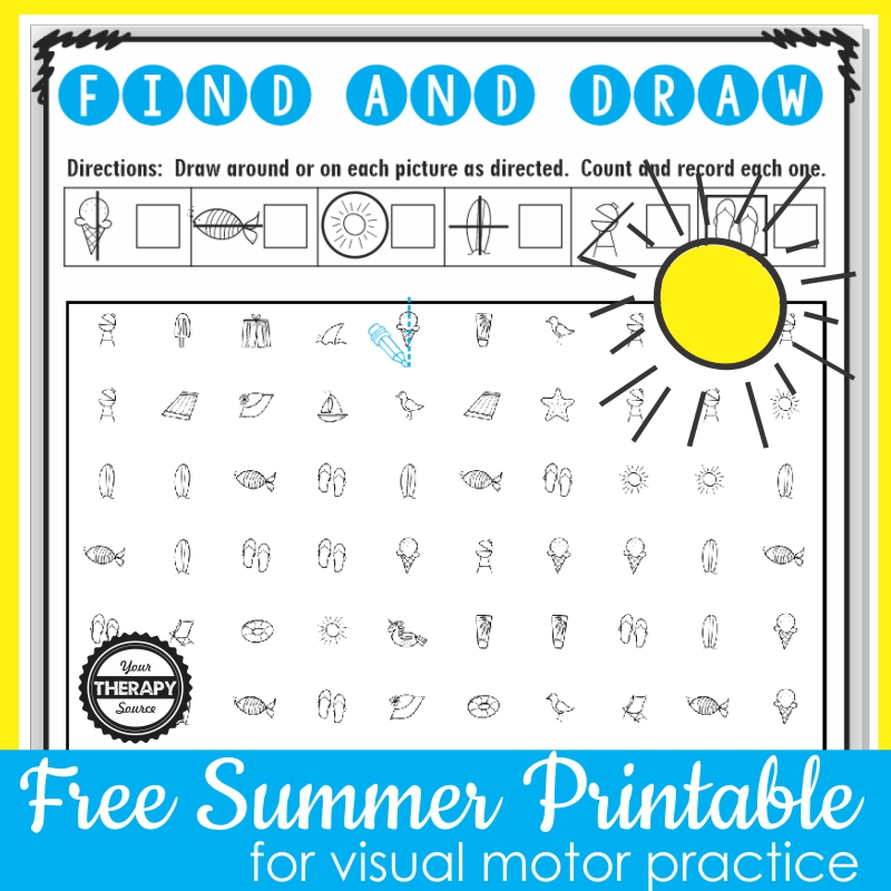 Photo of Free summer worksheet for visual motor skills
