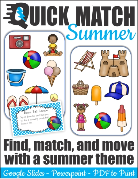 Quick Match Summer is a super fun, visual perceptual, physically active, card game.  Be the first player to spot the ONE matching summer activity or object on each set of two cards.