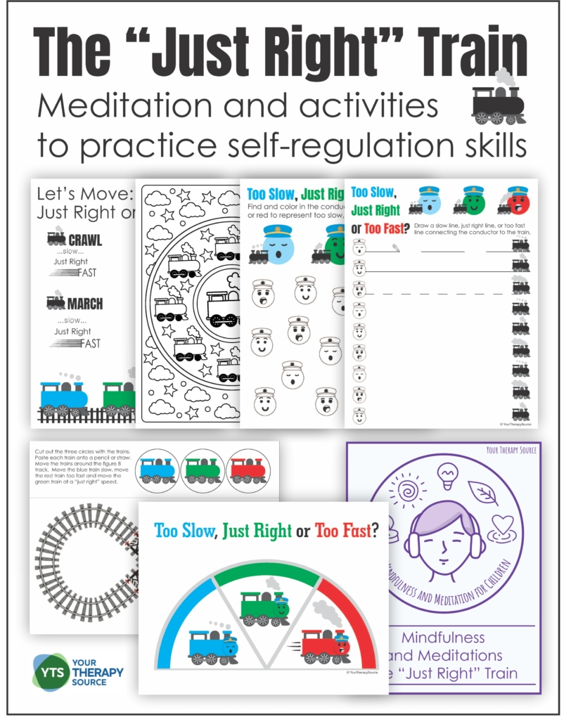 """This Self-Regulation Activity with a Train theme includes a meditation and printable activities to help children learn to get their body into a """"just right"""" state ready for learning."""