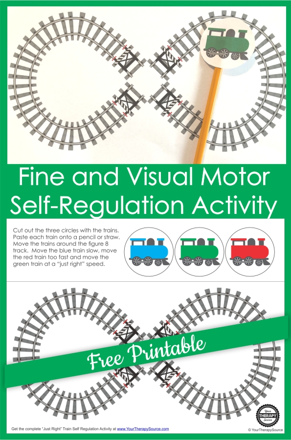 Therapists, teachers, and parents can help children practice self-regulation skills with this lazy 8 free printable train track activity.