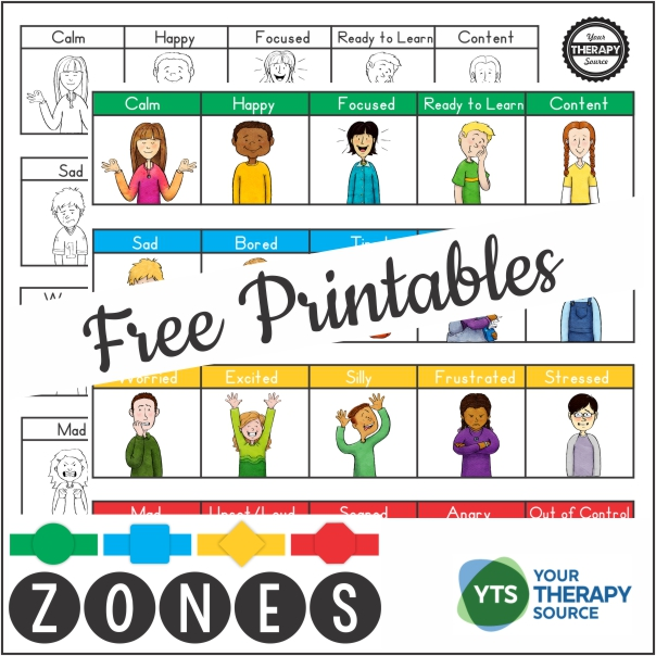 These Zones of Regulation free printables make excellent visual supports. You can download the full color and black and white version.