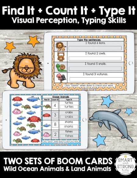 Boom Cards: Visual Perceptual Find It - Count It - Type It with Ocean and Land Animal theme includes 20 Boom Cards total for students to work on visual discrimination, counting skills, and typing skills.