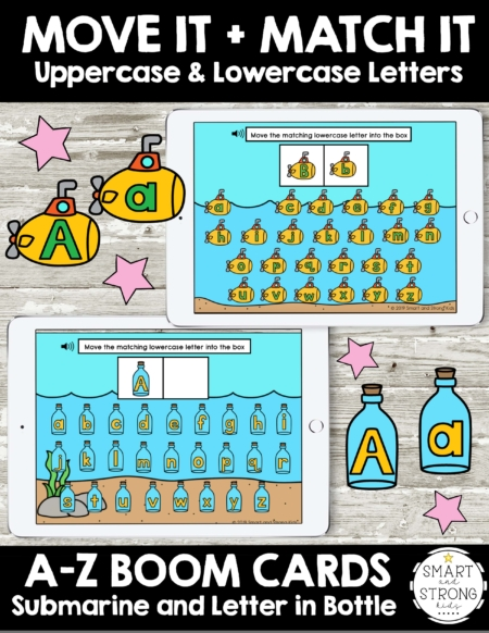 Boom Cards: Letters - Move It and Match Itwith Submarine and Message in a Bottle theme includes 26 Boom Cards per theme to work on matching uppercase and lowercase letters.