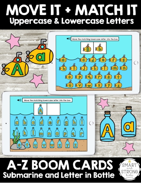 Boom Cards: Letters - Move It and Match It with Submarine and Message in a Bottle theme includes 26 Boom Cards per theme to work on matching uppercase and lowercase letters.