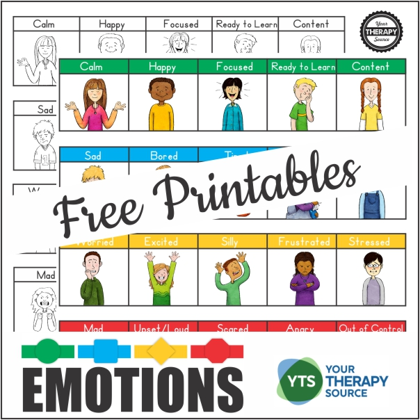 These emotional regulation free printables make excellent visual supports.  You can download the full color and black and white version at the bottom of the post.
