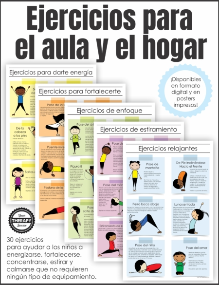 Spanish Version Exercises for the Classroom and Home is a set of 5 posters written in Spanish to encourage simple fitness activities for students.  This is available as a digital download OR printed posters in Spanish. You can find the English version here. La versión en español Ejercicios para el aula y el hogar es un conjunto de 5 carteles escritos en español para fomentar actividades físicas simples para los estudiantes. Está disponible como descarga digital O pósters impresos en español.