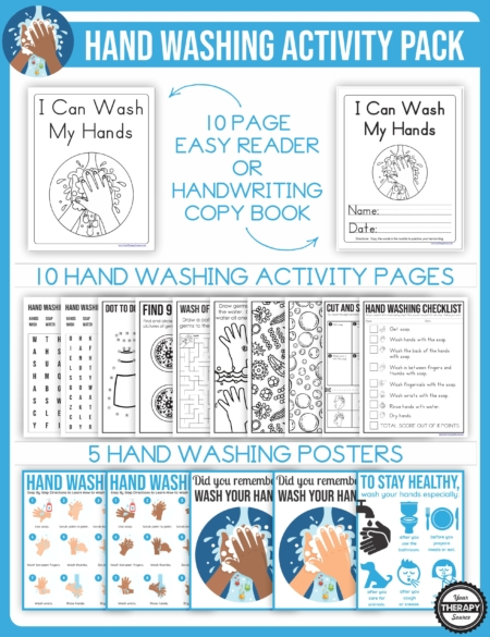 The Hand Washing Activities Packet is an excellent resource to add to any therapist, parent, or teacher's tool kit to help children learn the importance of hand washing.
