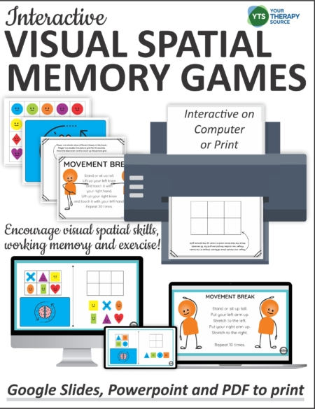 This digital packet of Visual Spatial Memory Games includes 4 levels of difficulty and 4 movement breaks to encourage spatial skills.