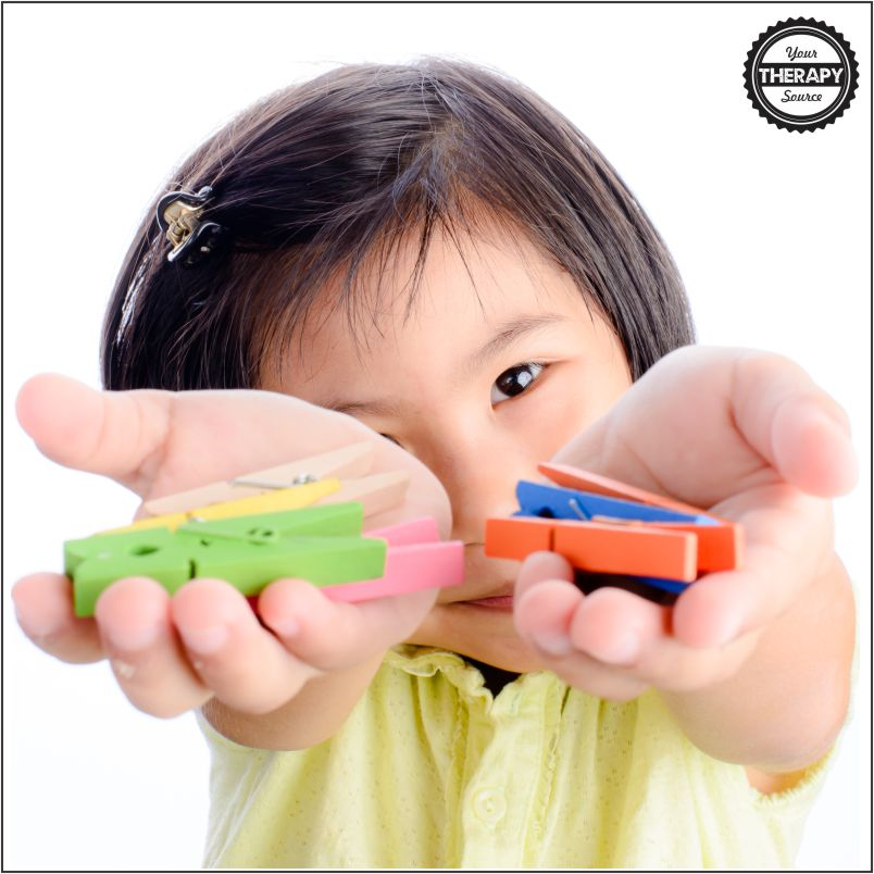 Clothespin activities are a great tool to work on finger and hand strengthening, fine motor skills and eye hand coordination for children. Occupational therapists and Montessori teachers will tell you how often they use clothespins to work on fine motor skills.