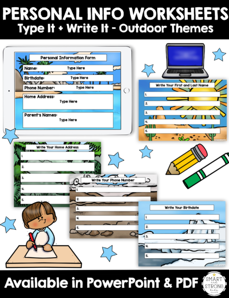 This digital set of Personal Information Worksheets - Write It & Type It includes 5 personal information questions to answer with 15 different background themes for throughout the school year.