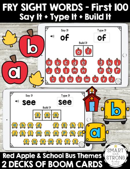The Back to School Fry Words Boom Cards  Say It, Type It, Build It  includes multisensory practice to learn sight words.