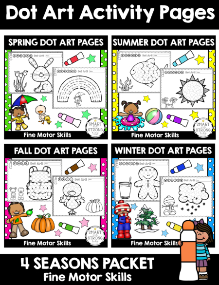 This digital Dot Marker Printables for All Seasons collection includes cute, whimsical, fine motor activities for Winter, Spring, Summer and Fall.