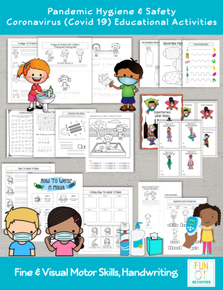 This mega COVID 19 Lesson Plans for OT - Pandemic Hygiene & Safety Coronavirus (Covid-19) Educational Activities Digital Packet, created by Samantha Chow Tran, M.S., OTR/L, is great for developing fine and visual motor skills as well as practice handwriting skills all while learning.