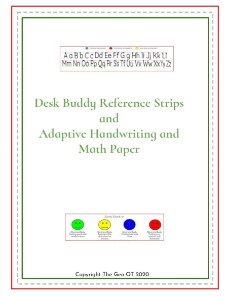 Created by Anna Long-Slade, OTR, The Desk Buddy Reference Strips and Adaptive Handwriting and Math Paper is a 30 page PDF packet to help student succeed with their seat work.