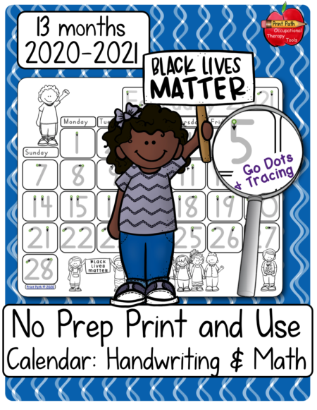 This blank and traceable calendars bundle 2020-2021, created by school-based Occupational Therapist Thia Triggs, provides differentiated instruction and practice of numeral formations through participating in functional tasks – making calendars.