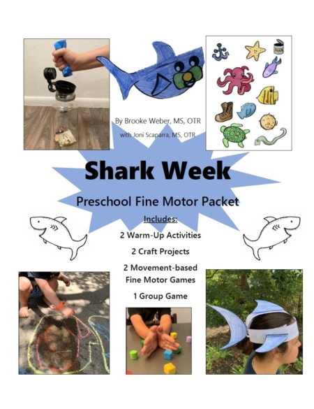 If you need help planning shark activities for preschool, then this fine motor bundle created by Occupational Therapists Brooke Weber and Joni Scaparra, will help you get started right away!  It includes everything you need to provide fine motor, gross motor and visual perceptual activities for preschool children and up.