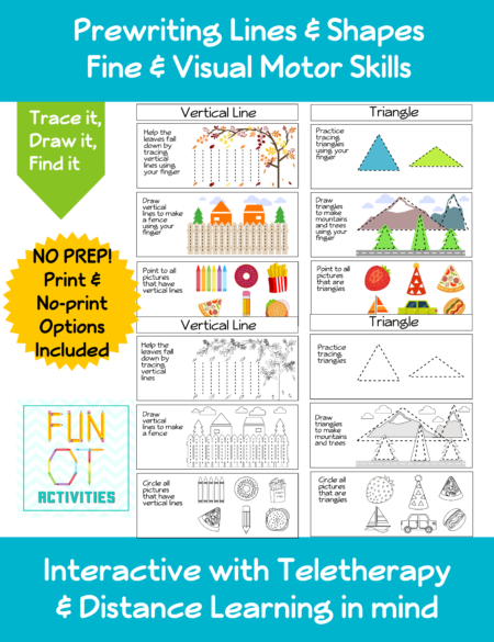 Trace It, Draw It, Find It Prewriting Packet is perfect for in-person or distance learning for students to practice visual motor skills.  Created by Samantha Chow Tran, M.S., OTR/L, these activities are all set to go!
