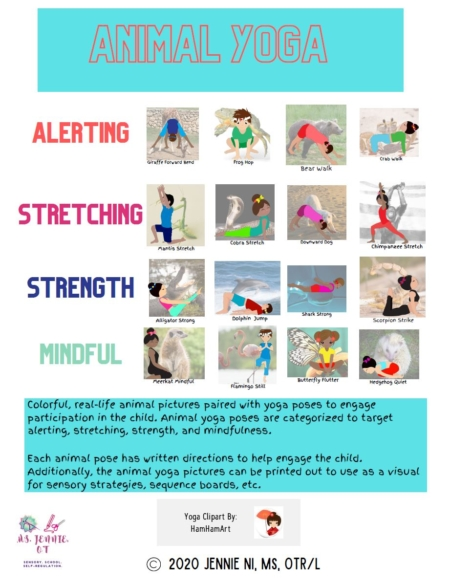 This Animal Yoga digital packet includes colorful, real-life animal pictures paired with yoga poses to engage participation in the child. Created by Jennie Ni, MS, OTR/L, the Animal yoga poses are categorized to target alerting, stretching, strength, and mindfulness.